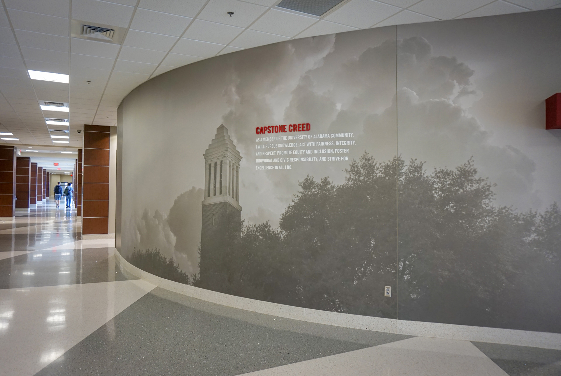 Capstone Creed wall graphic in Ferguson Hall