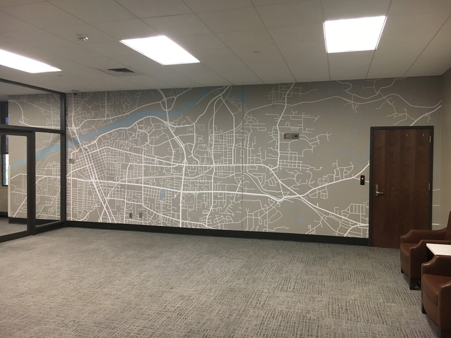 Map wall graphic in Ferguson Hall