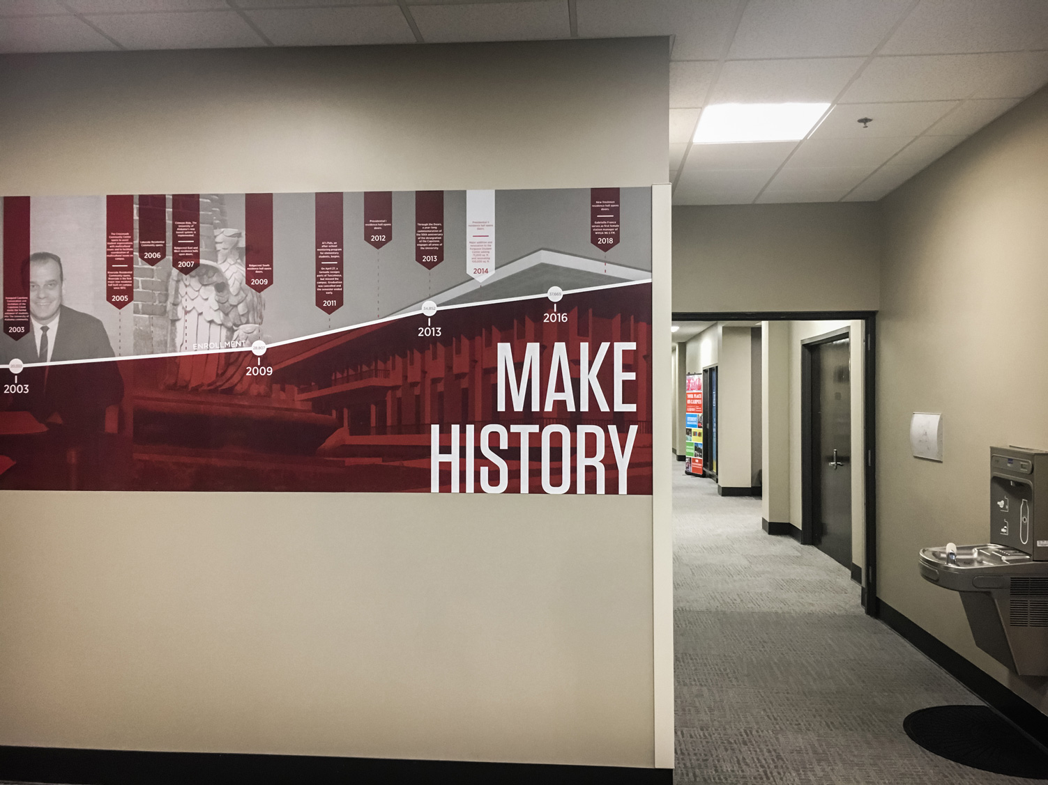 History timeline wall graphics in Ferguson Hall
