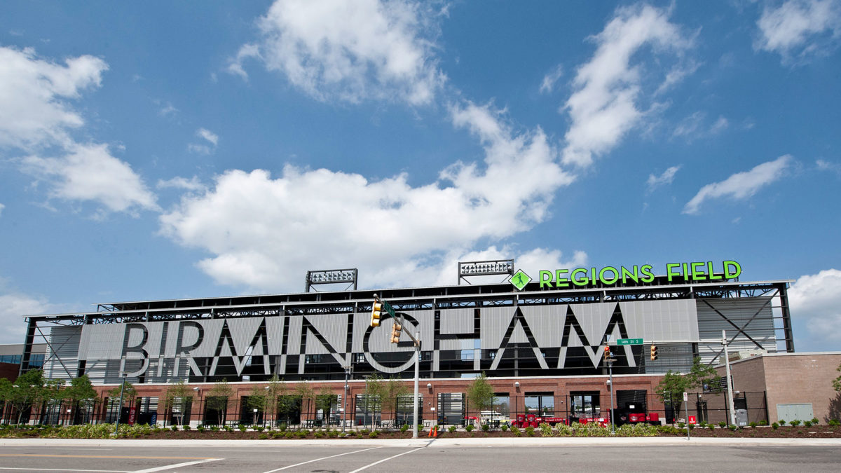 Regions Field Letters and diamond logo designed by Formula Design
