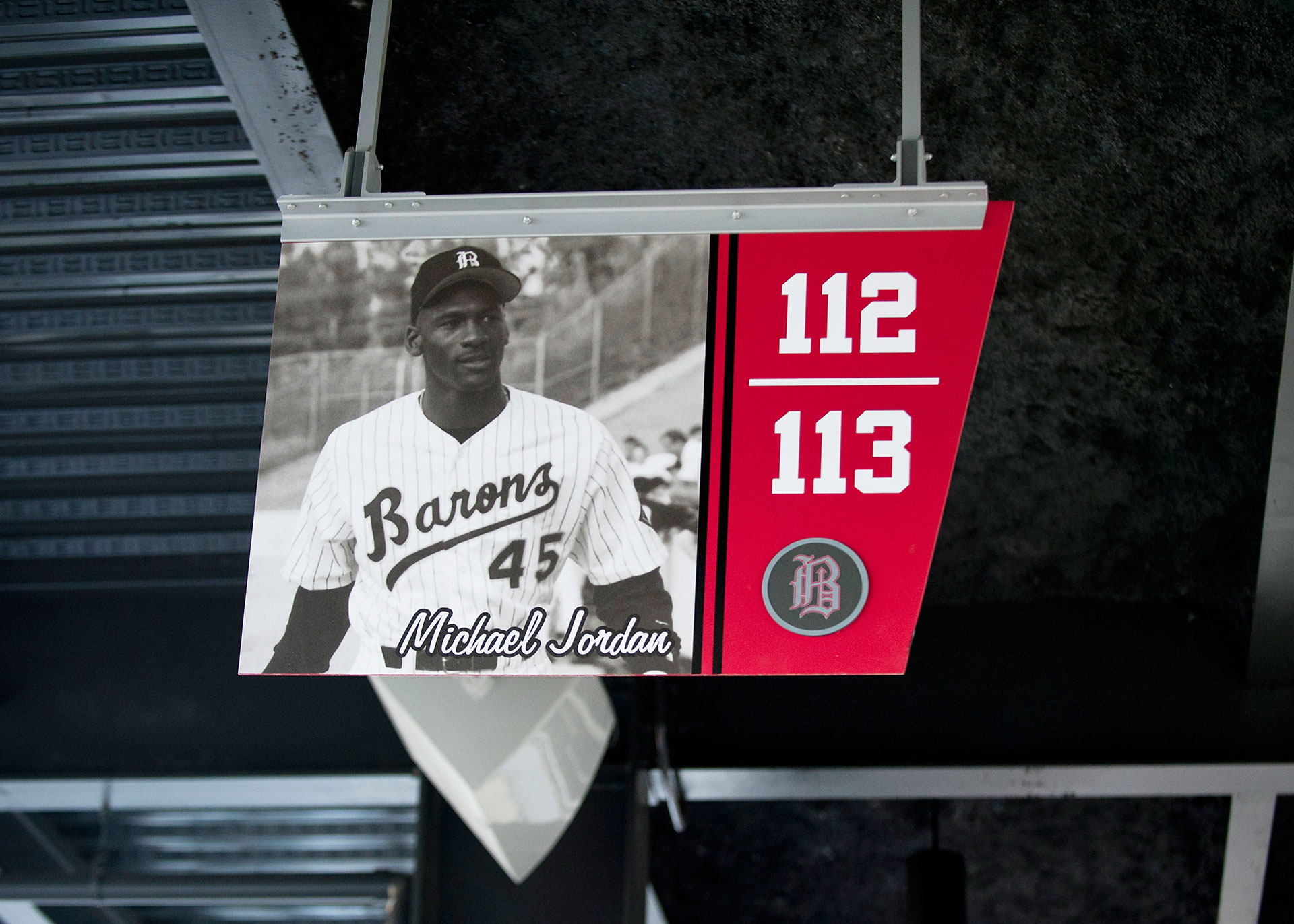 Overhead section ID signage at Regions Field