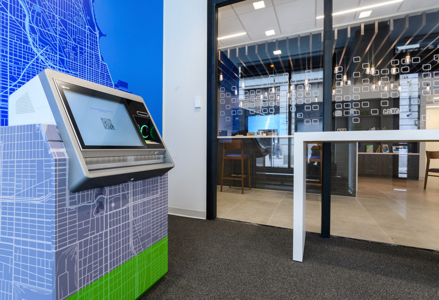 Fifth Third Bank ATM lobby with ATM and map wall graphics designed by Formula Design