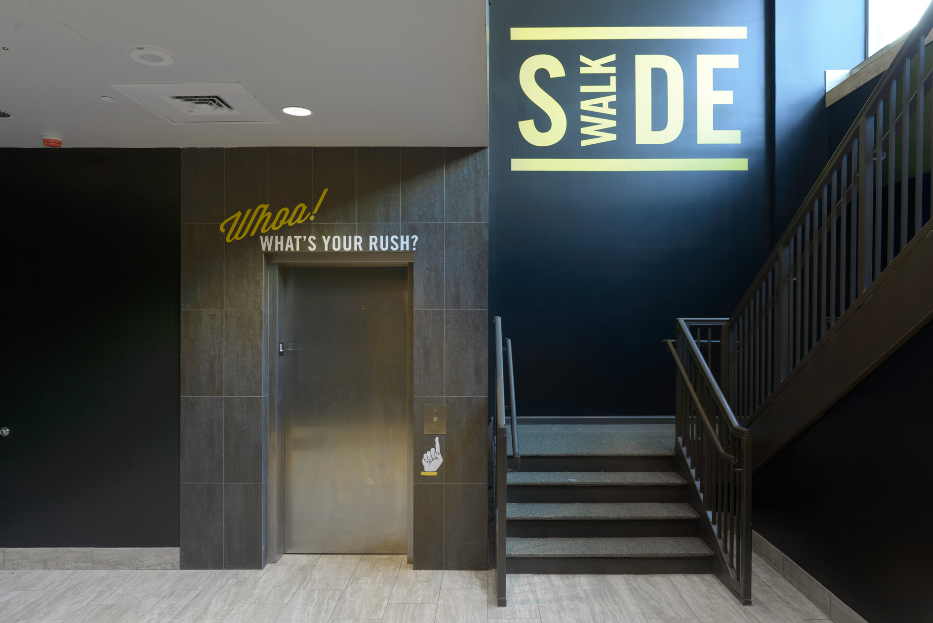 Sidewalk Cinema entry and elevator lobby graphics