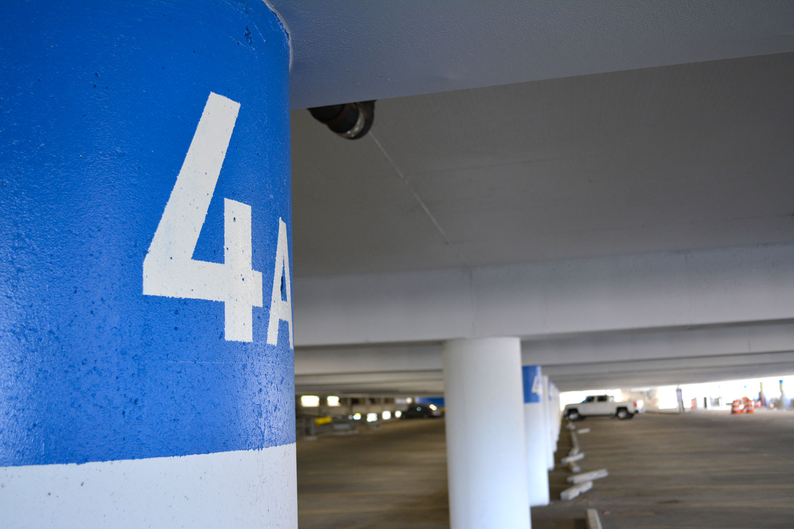 Painted column IDs in the 22nd street BJCC parking deck