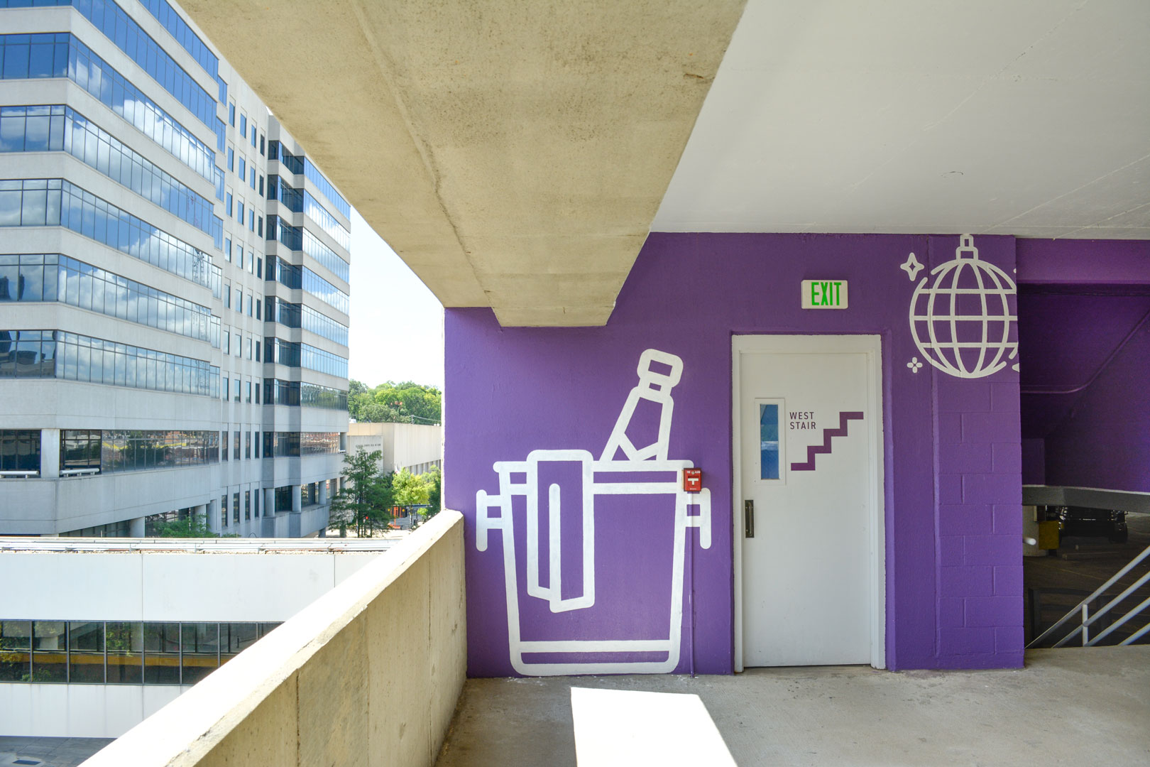 Painted environmental graphics in the 22nd street BJCC parking deck