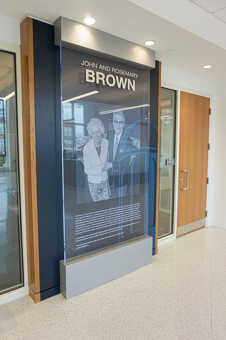 John and Rosemary donor display at Brown-Kopel