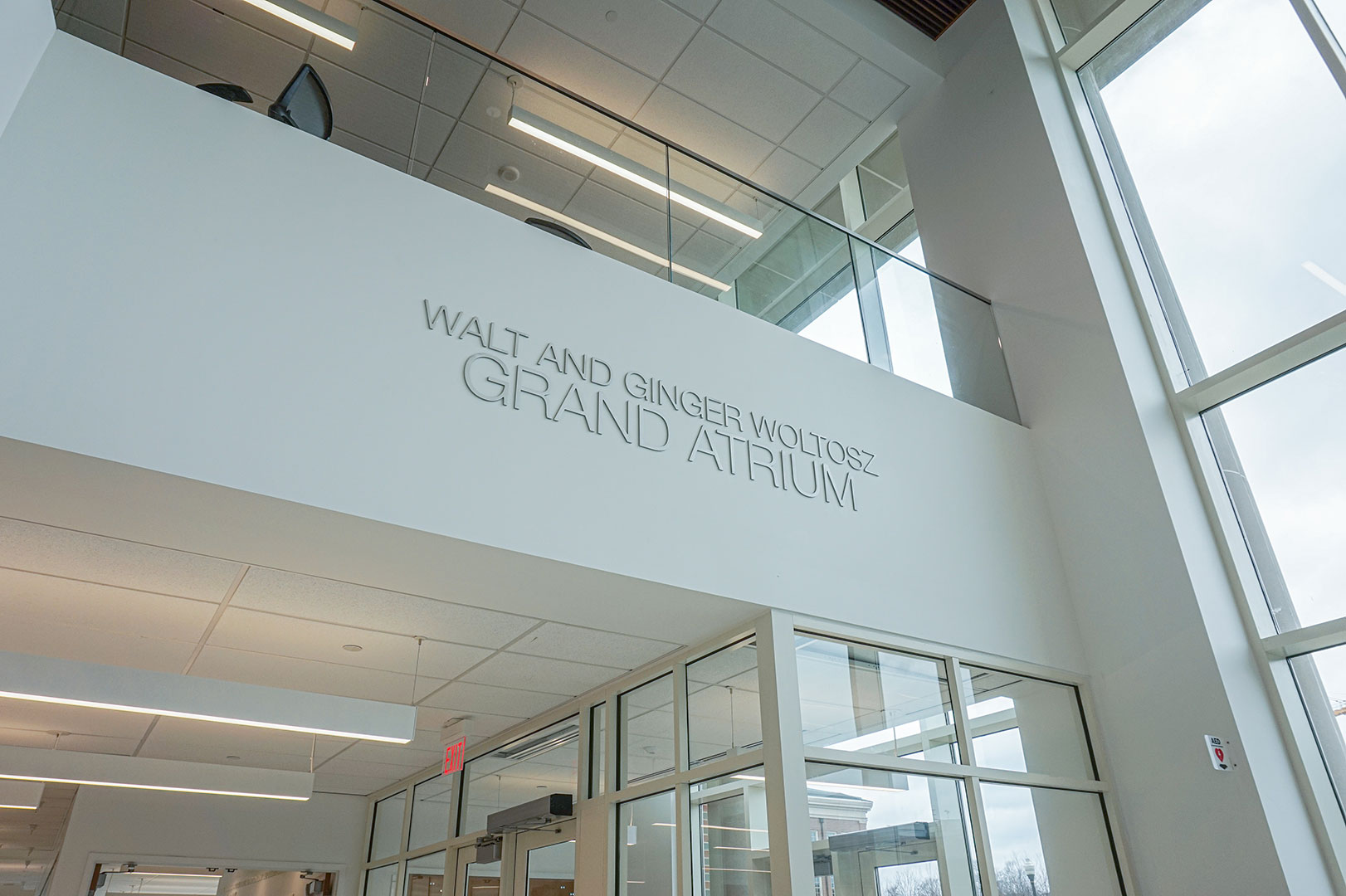 Walt and Ginger Woltosz Grand Atrium dimensional aluminum plate donor letters