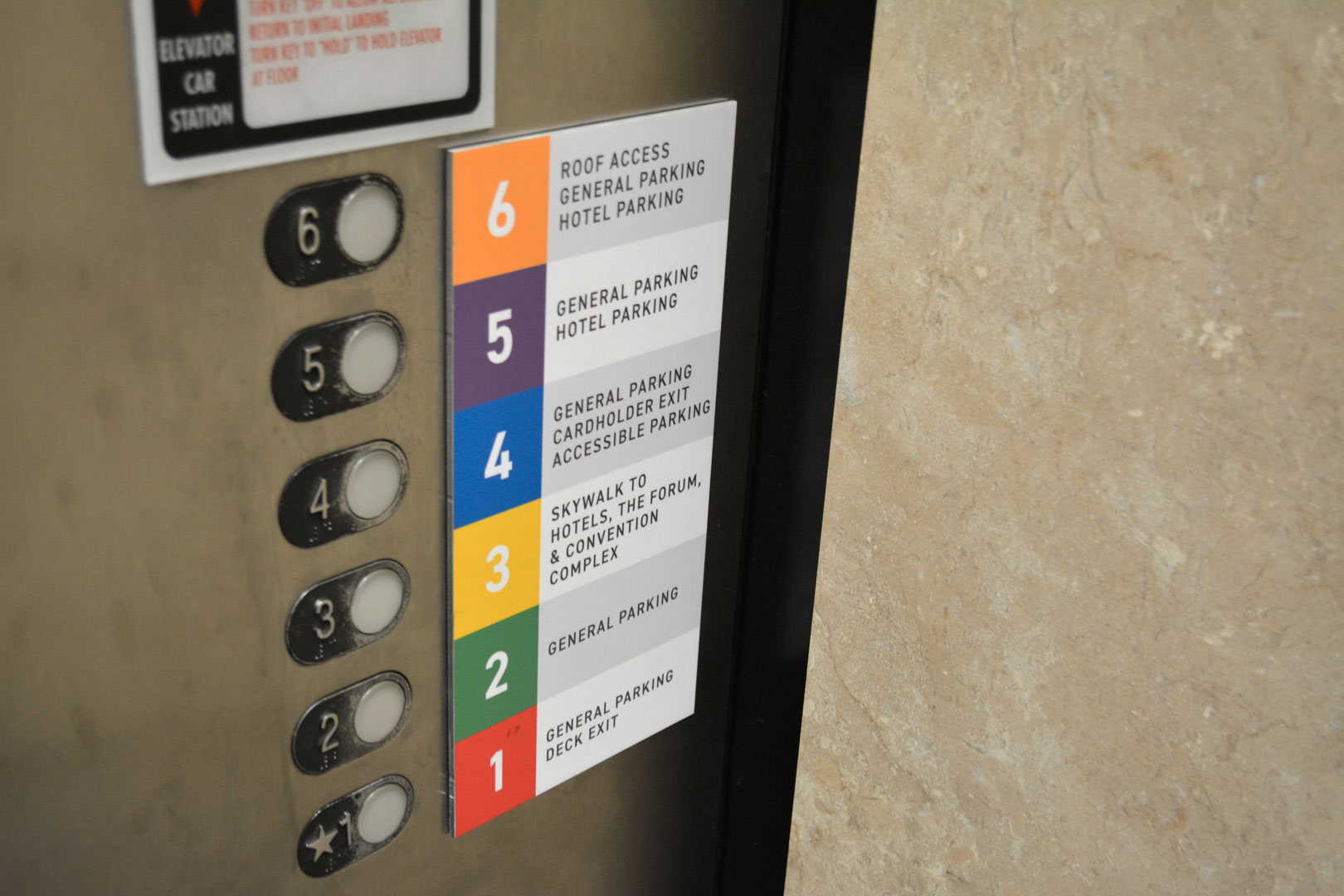 Level directory sign next to elevator level buttons in the 22nd street BJCC parking deck