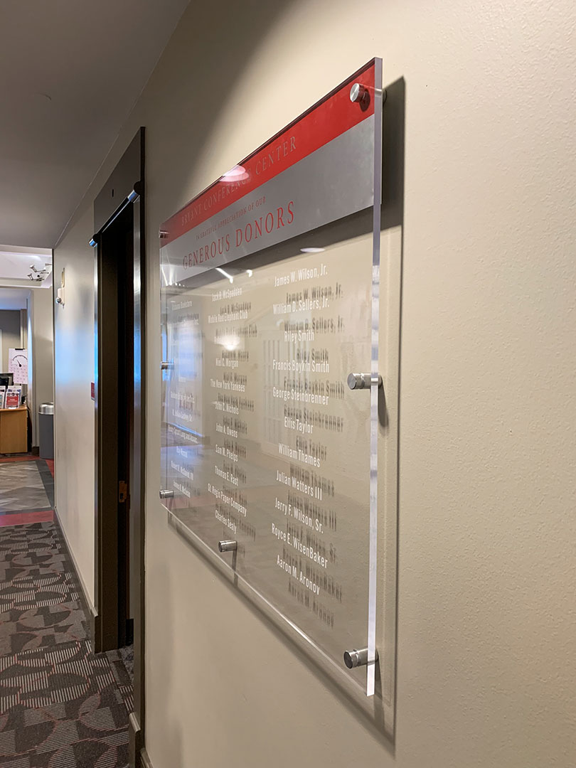 Acrylic donor display signage for Bryant Conference Center