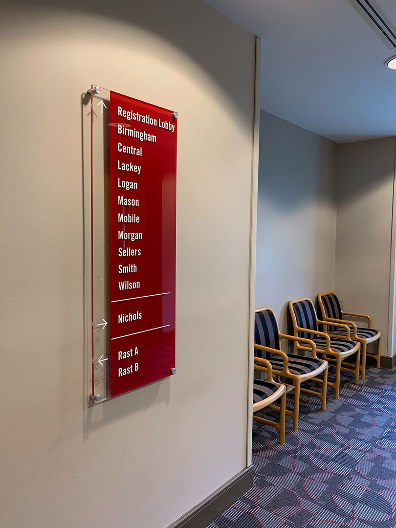 Wall Mounted Directional Panel on Brushed Standoffs