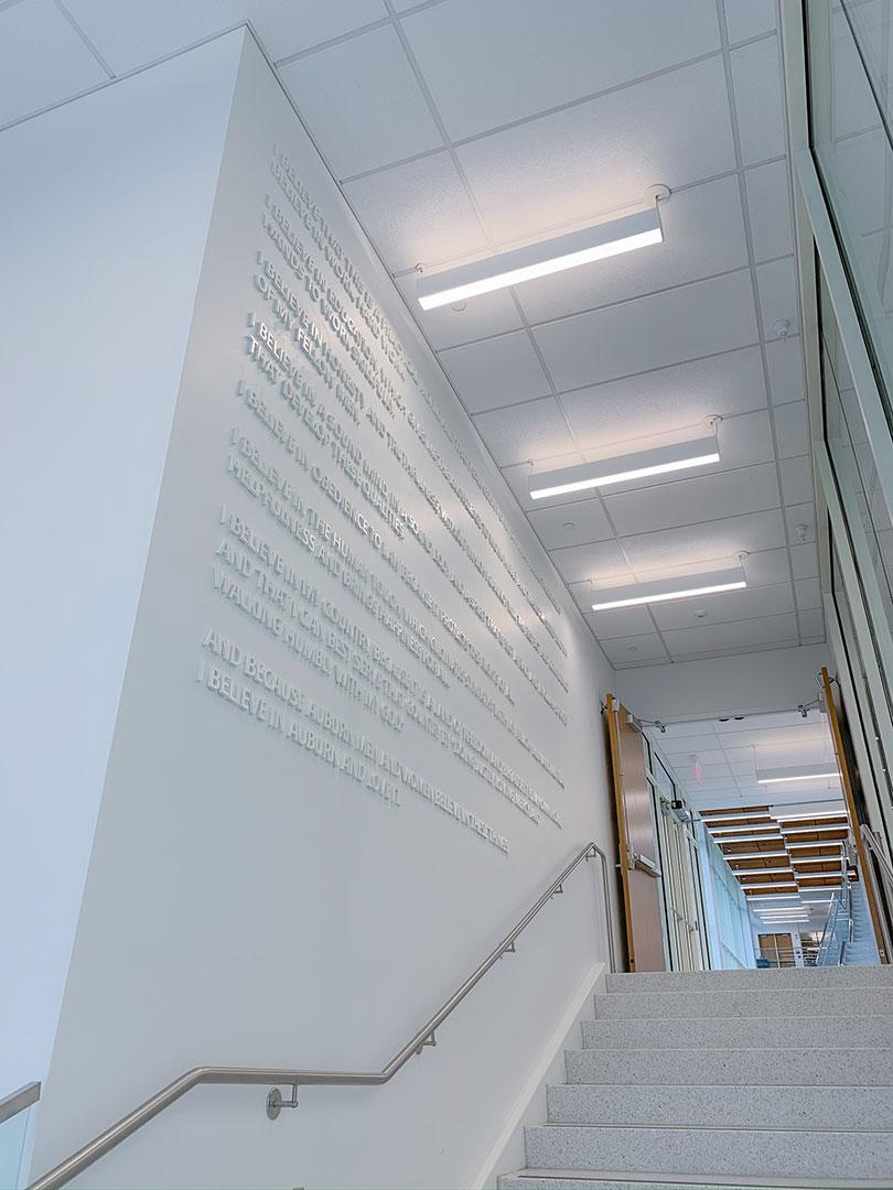 Dimensional Auburn creed wall