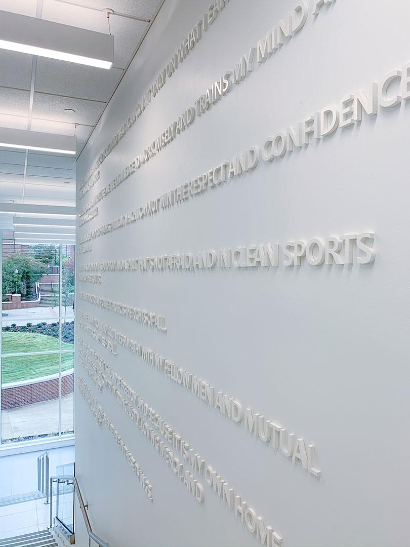 Dimensional Auburn creed wall detail